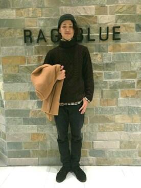 RAGEBLUE名古屋パルコ店|矢田さんのニットキャップ/ビーニー「アクリルリブワッチ/731645(RAGEBLUE|レイジブルー)」を使ったコーディネート