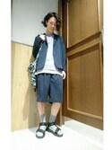 矢田さんの「【汗ジミ防止・抗菌防臭】ポケットTシャツ/748866(RAGEBLUE|レイジブルー)」を使ったコーディネート