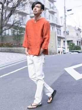 アーバンリサーチ 三宮店| Sonny Label MENSさんのTシャツ/カットソー「Sonny Label リネンスキッパー(URBAN RESEARCH Sonny Label|アーバンリサーチサニーレーベル)」を使ったコーディネート