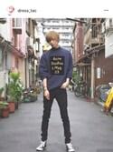 「Acne Studios Beta printed cotton-blend jersey sweatshirt(Acne Studios)」 using this たくちゃん looks