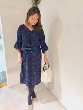actuel 名古屋セントラルパーク店|Risa.Kさんの「ランダムドット柄ワンピース(INTERPLANET)」を使ったコーディネート