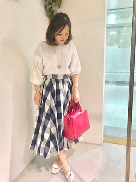 actuel 名古屋セントラルパーク店|Risa.Kさんの「TRポンチ袖ボリュームTOPS(INTERPLANET)」を使ったコーディネート