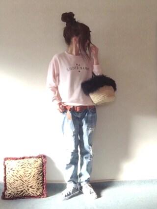 norimamiさんの「LA BELLA ETOILE スウェットプルオーバー(MAISON DE REEFUR メゾンドリーファー)」を使ったコーディネート