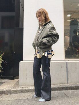 MIDWEST TOKYO WOMEN|Risa Suzukiさんの「RIGID FLARE DENIM PANTS(JOHN LAWRENCE SULLIVAN)」を使ったコーディネート