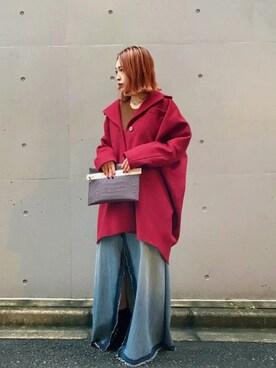 MIDWEST TOKYO WOMEN|Risa Suzukiさんの「MM6 メルトンビッグシルエットコート(MM6)」を使ったコーディネート