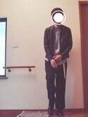 R@相互フォロー募集中💫さんの「フェイクレザーシングルライダースジャケット(SPINNS スピンズ)」を使ったコーディネート