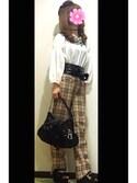 「配色レースオフショルダーブラウス(PAGEBOY)」 using this Lady-K looks