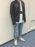 「Maison Martin Margiela Zip-feature leather jacket(Maison Martin Margiela)」 using this T looks