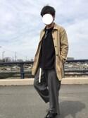 ぱんださんの「サングラス べっ甲 ワイヤーフレーム ボストン型 カラーレンズ(ROOPTOKYO|ループトウキョウ)」を使ったコーディネート