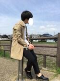 ぱんださんの「綿麻ストレッチステンカラーコート/スプリングコート(MONO-MART|モノマート)」を使ったコーディネート