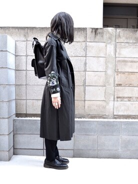 """mao is wearing CLANE """"【CLANE】EMBROIDERY TRENCH COAT 14101-0031"""""""