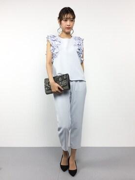 ZOZOTOWN|ゆきちさんの「《andGIRL3月号モデル美香さん着用アイテム》袖フリルパンツセットアップ《WEB限定カラーあり》(31 Sons de mode|トランテアン ソン ドゥ モード)」を使ったコーディネート