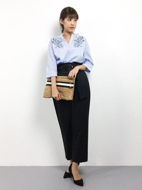 yukiさんの「【WEB限定サイズ】刺繍入りストライプシャツ(a.v.v)」を使ったコーディネート