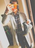 バターさんの「フランネルチェックシャツ(長袖)(ユニクロ ジーユー)」を使ったコーディネート