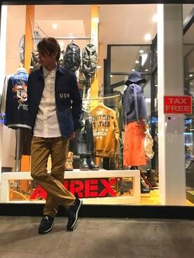 AVIREX 岡山|akashiさんのシャツ/ブラウス「avirex/アヴィレックス/ TYPE BLUE L/S QUILT NAVAL C.P.O SHIRT/ タイプブルー キルト ネイバル シーピーオー シャツ(TYPE BLUE|タイプブルー)」を使ったコーディネート