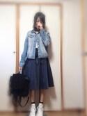 しおりさんの「WOMEN コットンカシミヤクリケットセーター(長袖)(ユニクロ|ユニクロ)」を使ったコーディネート
