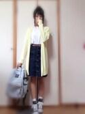 しおりさんの「前釦デニムタイトスカート(OLIVEdesOLIVE|ユニクロ)」を使ったコーディネート