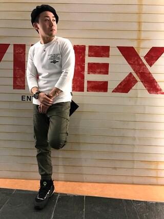 「avirex/ アヴィレックス / 7分袖 コーデュラミックス ワッフルTシャツ/ 3/4SLEEVE CORDURA MIX WAFFLE T-SHIRT(AVIREX)」 using this AVIREX  福岡|NΔRUKIX looks