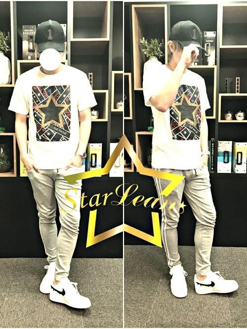StarLean運営さんの「スターグラフィックプリントTシャツ(StarLean)」を使ったコーディネート