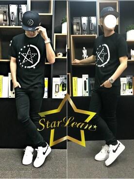 「StarLean スターリアン」公式通販サイト|StarLean運営さんの「スターリアン【公式】HALF STAR LINEプリントTシャツ(StarLean)」を使ったコーディネート