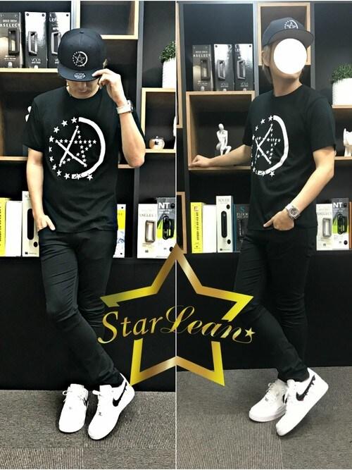 StarLean運営さんの「スターリアン【公式】HALF STAR LINEプリントTシャツ(StarLean)」を使ったコーディネート