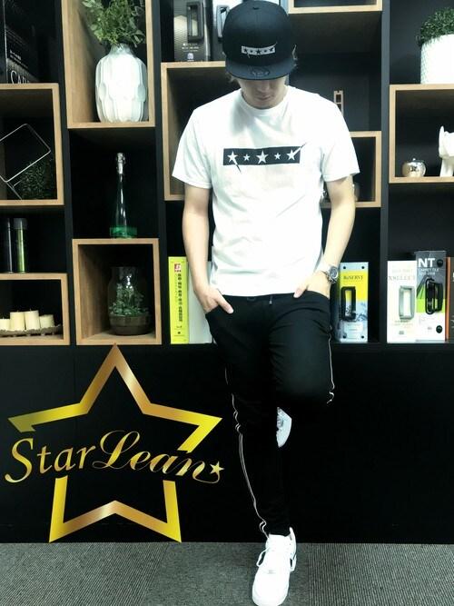 StarLean運営さんの「FIVE STARロゴ刺繍ベースボールキャップ(StarLean)」を使ったコーディネート