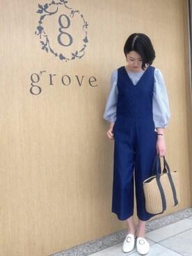 grove(グローブ)|groveさんのシャツ/ブラウス「後ろリボンタック袖ブラウス(grove|グローブ)」を使ったコーディネート