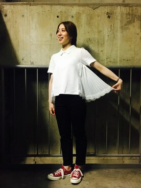 FRED PERRY 名古屋パルコ|tomomiさんの「Muveil Chiffon Flare Pique Shirt(FRED PERRY)」を使ったコーディネート