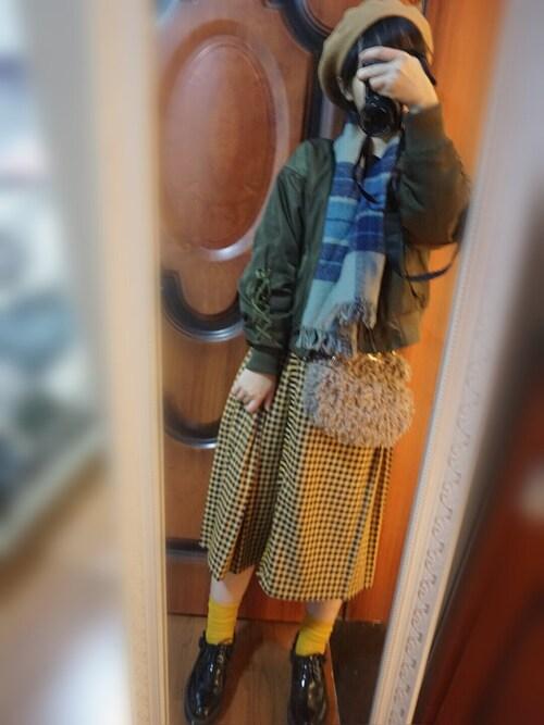 �yf�y/�:+N{��_t(ビット使いチェックキルトスカート/f i.n.t)」的時尚穿搭