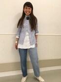 ASAMI OKANOさんの「BEAMS BOY / ロンドンストライプ ボタンダウンシャツ(BEAMS BOY|ビームスボーイ)」を使ったコーディネート