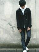 SHOW・高松さんの「メンズノンノ【MEN'S NON-NO】11月号 P127 野村周平さん着用商品 ショート丈スムースメルトンPコート(UNION STATION ユニオンステーション)」を使ったコーディネート