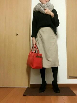 す ーさんの「カラーピーチミモレスカート(N.(N. Natural Beauty Basic)|エヌ(エヌ ナチュラルビューティーベーシック))」を使ったコーディネート