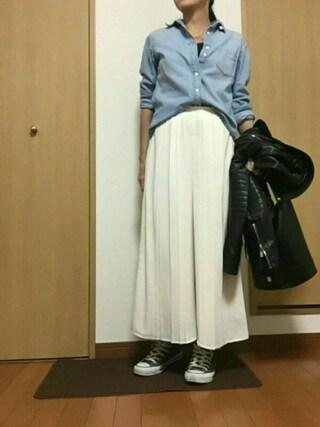 す ーさんの「WOMEN デニムシャツ(長袖)(ユニクロ|ユニクロ)」を使ったコーディネート