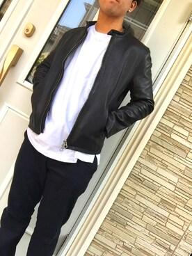夢希也さんの「レザーシングルライダース(HARE)(HARE)」を使ったコーディネート