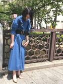 maiko  uchiboriさんの「AMERICAN RAG CIE デニムフリルワンピース(AMERICAN RAG CIE)」を使ったコーディネート