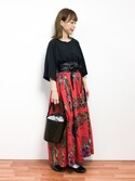 saya☺︎さんの「インド綿ヴィンテージスカーフ柄リバーシブルウエストゴムミモレ丈フレアスカート(select MOCA|セレクトモカ)」を使ったコーディネート