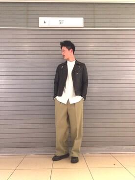 UNITED TOKYO MENS SHINJUKU|Atsushiさんの「ラムレザーダブルライダース(UNITED TOKYO)」を使ったコーディネート