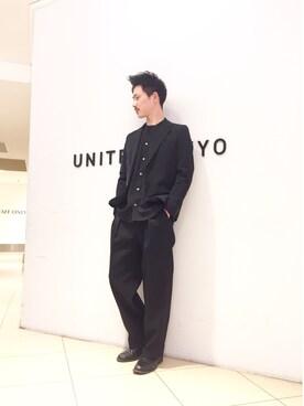 UNITED TOKYO MENS SHINJUKU|Atsushiさんの「Vネックロングスリーブシャツ(UNITED TOKYO)」を使ったコーディネート