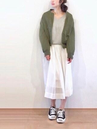 たろ☺︎さんの「ボイルギャザースカート(TONAL|トーナル)」を使ったコーディネート