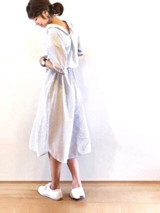 たろ☺︎さんの「【CLASSY. 6月号 掲載】抜き衿シャツワンピース(TONAL|トーナル)」を使ったコーディネート