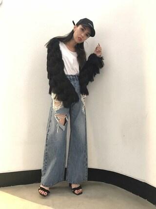 EMODA渋谷109店 武村 沙愛さんの「アップクラッシュワイドデニム(EMODA エモダ)」を使ったコーディネート