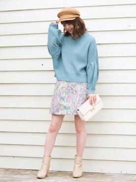 MERCURYDUO|鈴木茉由さんの「シャイニージャガード台形スカート(MERCURYDUO)」を使ったコーディネート