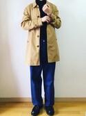 もりくんさんの「ステンカラーミドル丈スプリングコート(REPIDO|リピード)」を使ったコーディネート
