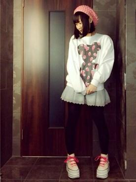 仮面女子さんの「wc/リボン刺繍厚底スニーカー(wc|ダブル シー)」を使ったコーディネート