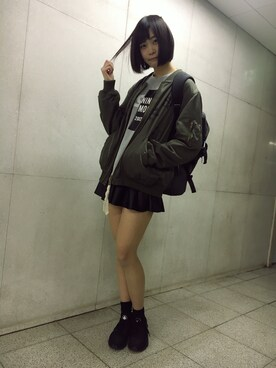 Girls Fashion Collectionさんの「【X-girl×OPENING CEREMONY/オープニングセレモニー】 BREAK SWEAT TOP(X-girl)」を使ったコーディネート