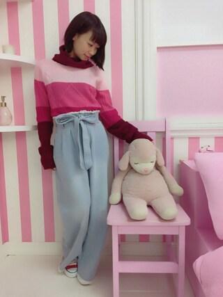 仮面女子さんの「マルチボーダーニット(jouetie|ジュエティ)」を使ったコーディネート