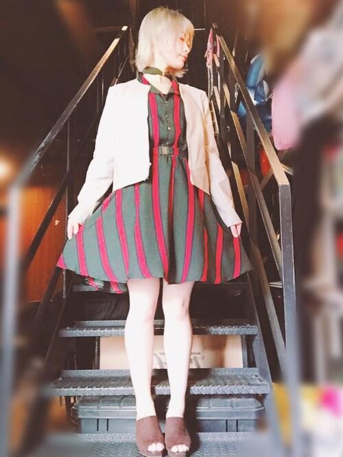 仮面女子さんの「マルチストライプシャツワンピース(REDYAZEL)」を使ったコーディネート