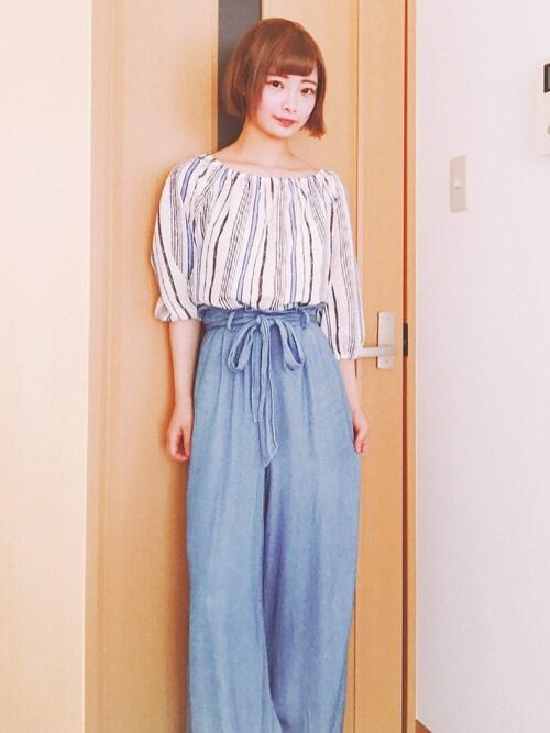 仮面女子さんの「レーヨンデニムリボン付ワイドパンツ(COLONY 2139)」を使ったコーディネート