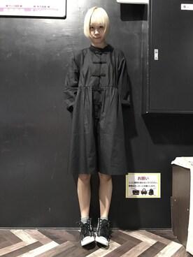 仮面女子さんの「チャイナボタンコットンワンピース5790(merlot)」を使ったコーディネート