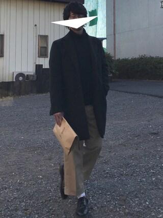 Hi-deさんの「【コートを軽快に】ウォームクロスチェスターコート(JUNRed|ジュンレッド)」を使ったコーディネート